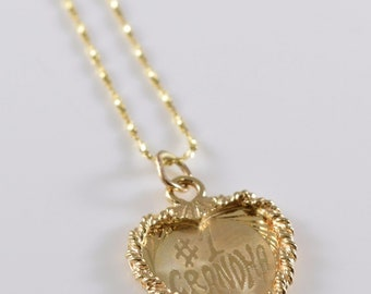 Number One Grandma 14K Gold Heart Necklace