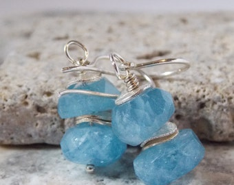 Natural Aquamarine Faceted Nugget Sterling Silver Earrings Simple Drop Earrings March Birthstone
