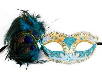 Gold Masquerade Mask, Aqua Blue Feathers, Masquerade Ball Mask, Masquerade Mask, Gold Glitter Details, Peacock Feathers, Rhinestones