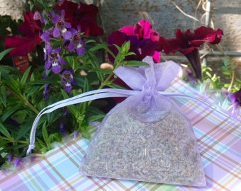 3 Lavender Bud Sachets, Organic French Dried Lavender Air Freshener, Choice Color Organza Bag