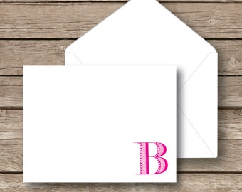 Personalized note cards, monogrammed stationery set, flat notecards set, notecards with envelopes, single initial, Modern stationery