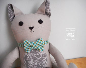 Add-On - Bow Tie & Neck Tie for Cat Doll - Sewing pattern with tutorial - Dress up