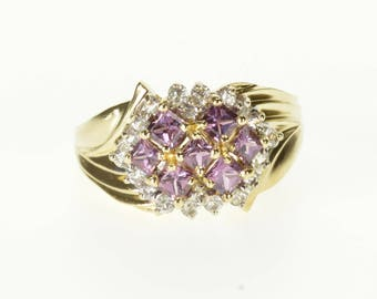 10k Princess Amethyst Cubic Zirconia Encrusted Ring Gold