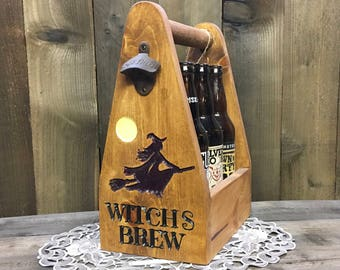 Witches Brew 6 Bomber Holder Beer Carrier - Witch Harry Potter Growler Halloween - Craft Beer 6 Pack Bottle 22 ounce