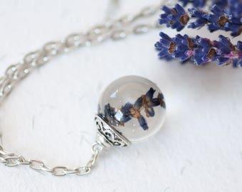 Lavender necklace - Lavender pendant -Resin chain necklace - Lavender wedding gift - Lavender bridal necklace - Lavender bridesmaid necklace