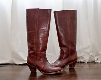 Vintage 1970s Dex Dexter tall leather riding boots cognac brown 70s 8 N narrow made in USA