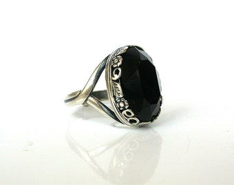 Gothic Ring - Jet Black Swarovski Engagement Ring - Victorian Gothic Wedding Jewelry