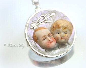 Lovers Frozen Charlotte Necklace Boy & Girl Wedding Anniversary Gift Pendant Lorelie Kay Original