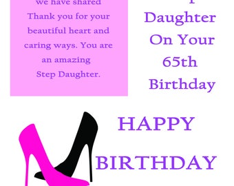 Step Daughter 65 Birthday Card with removable laminate