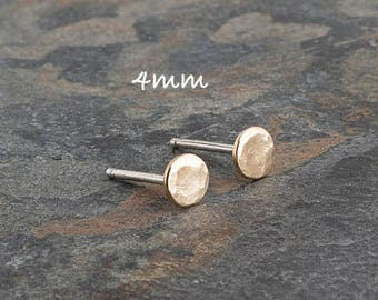 14K Solid Gold Hammered 4mm and Sterling Silver Post Studs, Solid Gold Studs, Gold Earrings, Gold Stud, Polka Dot Stud, Gold Circle Studs