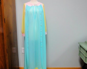 Charming Vintage I Magnin Eve Stillman Original Peignoir Set Nightgown, Robe in Taffy Candy Colors of Pink, Aqua, Yellow