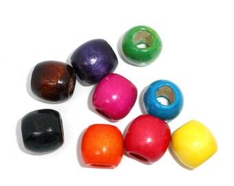 set of 50 wood 12 x 11 mm barrel beads