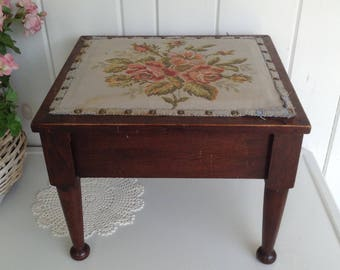Vintage Walnut Tapestry Stool Lift up Seat Under Seat Storage Not Perfect Footstool