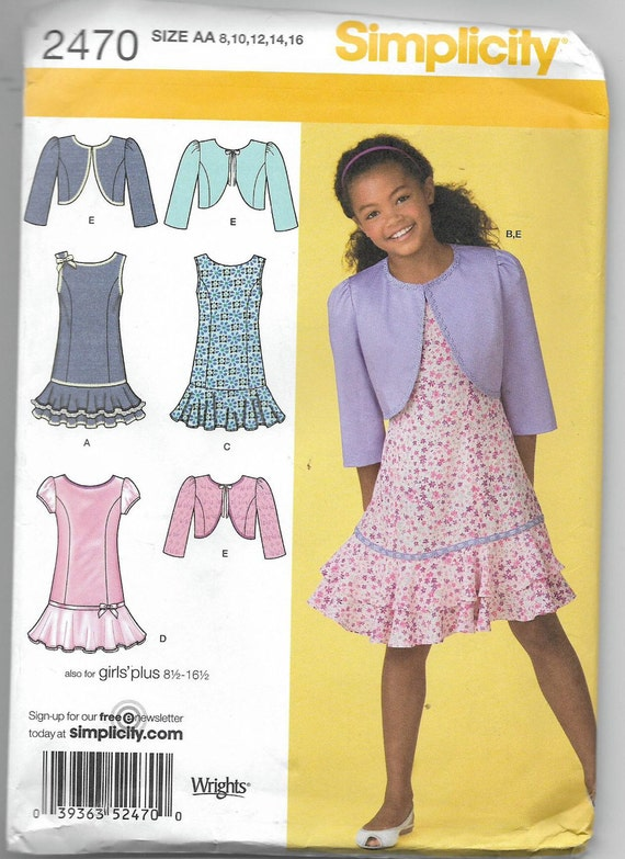 Uncut, Girl Size 8 to 16, Sewing Pattern, Simplicity 2470, Child ...