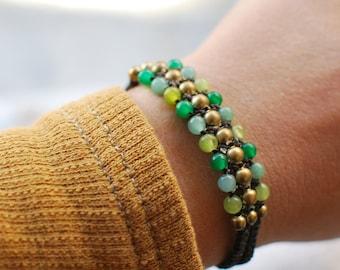 Natural macrame bracelet ,tribal bracelet ,bohemian bracelet ,ethnic bracelet ,indian bracelet ,gypsy bracelet ,brass bracelet.