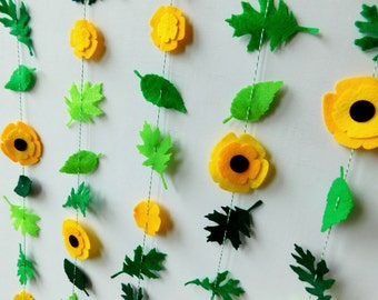 Yellow Flowers and Green Leaves Garland Vertically Hanging