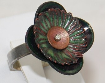 Passionflower Enameled Ring