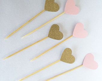 20 Gold and Pink Heart Cupcake toppers Food picks. Wedding Bridal shower, Birthday Party, Baby Shower, Decor