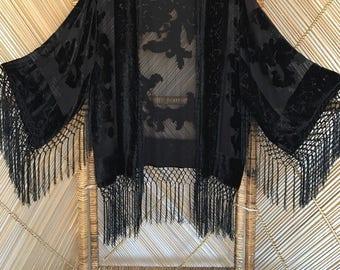 velvet kimono,devore jacket,burnout jacket,fringe jacket,gypsy,festival clothing,velvet kimono,devore kimono,burnout