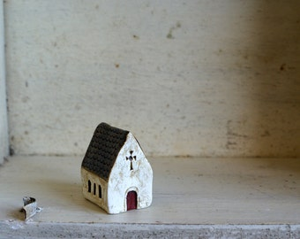 Miniature Irish Church Hand Painted Paper Clay -- Handmade in Ireland