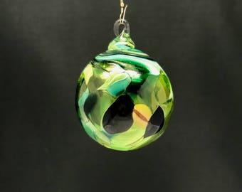 Hand Blown Glass Christmas Ornament (Color Name: Secret Garden)