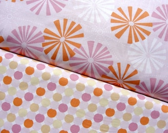 Designer Cotton Fabric, Annette Tatum, Pinwheel and Cirque in Pink, Soliel Collection, Full Yard Set, 2 Yards Total