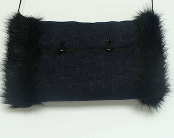 Navy blue jeans reversible faux fur muff with interior pocket