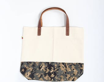White Canvas and Camouflage Tote Bag