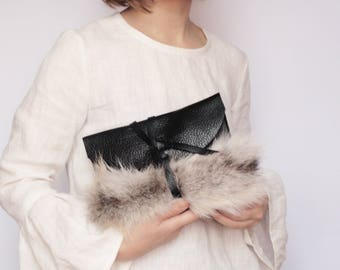 READY TO SHIP Black leather clutch with fur detail Mother's day gift