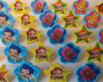 24 BUBBLE GUPPIES rings for cupcake toppers cake birthday party favors goodie bags decorations decor Nickelodeon Nick Jr. Gil Molly Nonny