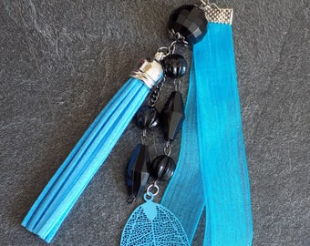 Jewelry bag turquoise and black beads
