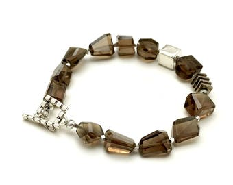 Beer Quartz Sterling Silver Geometric Nugget Beaded Clasp Bracelet  For Her Under 220 Free Gift Wrap