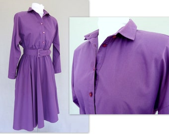 Purple Shirt Dress, Vintage 1980's Circle Skirt American Shirt Dress, Modern Size 10, Medium
