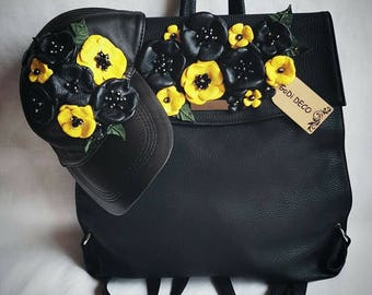Handmade leather backpack with leather flowers, backpack, leather bag, backpack with flowers, leather flowers, handmade backpack with flower