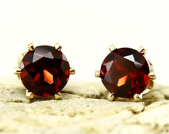 Natural Garnet Pair 3mm 4mm or 5mm Stud Earrings in Yellow Gold Filled or Sterling Silver, Natural Gemstone earrings, January Birthstone