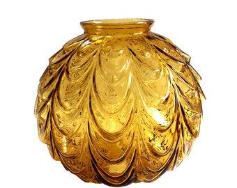Retro Amber Glass Globe Swag Light Fixture Shade / 60s Amber Ribbon Garland Globe Shade /  Amber Glass Pendant Swag Light Globe Replacement