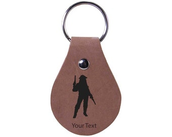 Personalized Engraved Custom Pirate With Gun 2-1/2-inch High Quality Genuine Leather Keychain with Keyring Holiday Gift