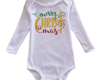 Merry CHRIST mas onesie - Christmas shirt - Baby clothes - My first Christmas - Christmas tree - Religious - Faith based