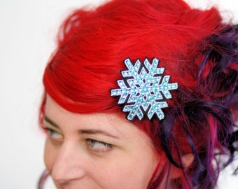 Snowflake Hair Clip, Christmas Barrette, White with Blue Rhinestones