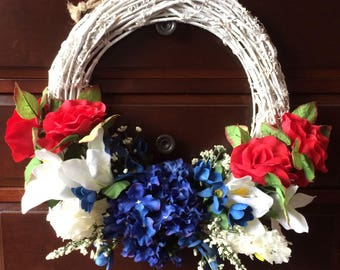 Patriotic Twig Wreath, Red White and Blue Wreath, Front Door Wreath, Patriotic Wreath, Red White and Blue Front Door Wreath