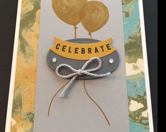 Celebration Card, Handmade Card, 'Celebrate' Card, Balloons, Congratulations Card, Stampin' Up! Designs