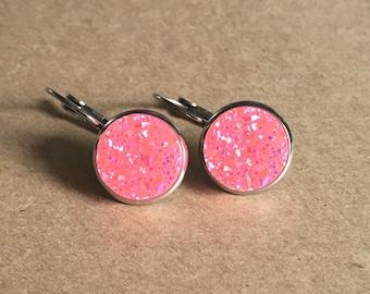 Pink Druzy Earrings, Pink Druzy Leverback Earrings, Druzy Dangle Earrings