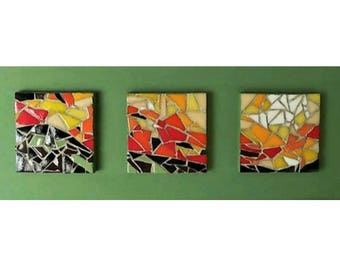 Mosaic triptych on green meadow