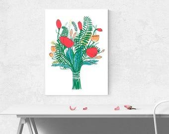 Printable Illustration Art Flower Bouqet Hand Drawn Home Decor