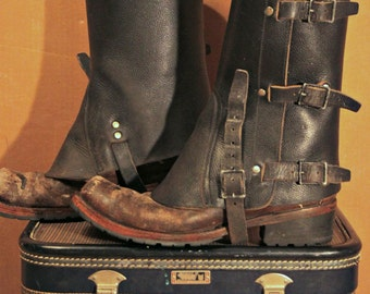 Vintage 1950's-80's Swiss Military Gaiters / Spats / Leather / Black / *Steampunk* / one size fits all