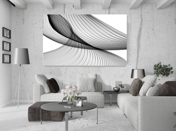 """Abstract Black and White 21-49-27. Unique Abstract Wall Decor, Large Contemporary Canvas Art Print up to 72"""" by Irena Orlov"""