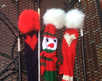 Golf club cover Snowman with fur Pom Pom, Valentine Golf Club Covers