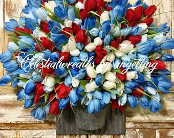 4th of july wreath-spring wreath - tulip wreath - blue red white wreath - wreaths - mothers day - easter wreath - summer wreath