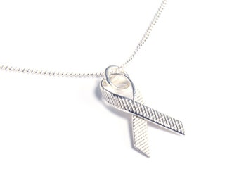 Tiny Sterling Awareness Ribbon Necklace
