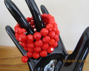 Vintage Bright RED FACETED BANGLE